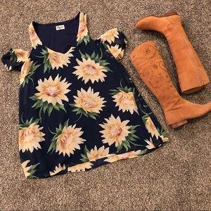 SMYM sunflower birdie ruffle dress